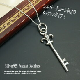 シルバー925 百合の紋章をあわせたカギモチーフネックレス silver925 シルバーアクセサリー レディースネックレス 鍵