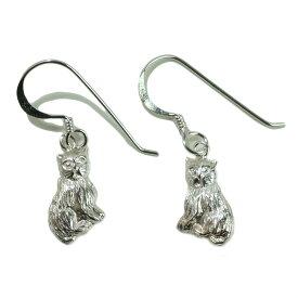 シルバーピアス 猫 ねこ ネコ 動物 アニマル フックピアス シルバー925 silver925 シルバーアクセサリー