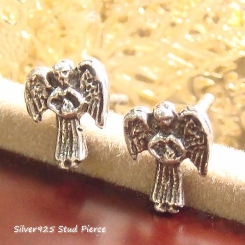 シルバーピアス 大きな羽根を持つ天使に守られて・・・天使のピアス a084(a-2-9) シルバー925 silver925 シルバーアクセサリー スタッドピアス レディースピアス