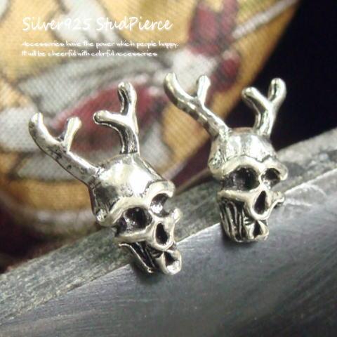 シルバーピアス 角の生えた悪魔のような出で立ちのドクロピアス a163(a-5-5) シルバー925 silver925 シルバーアクセサリー どくろ 髑髏 骸骨 スカル スタッドピアス メンズピアス レディースピアス