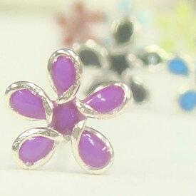 シルバーピアス 明るい色のお花が彩る半透明なカラフルフラワーピアス シルバー925 silver925 シルバーアクセサリー スタッドピアス レディースピアス