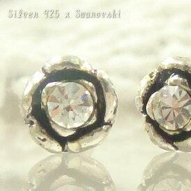 30%OFF!!シルバーピアス スワロフスキーの輝きとバラの花のコラボ 銀の薔薇ピアス シルバー925 silver925 シルバーアクセサリー レディースピアス