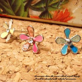 シルバーピアス カラフルなフラワーモチーフスタッドピアス シルバー925 silver925 シルバーアクセサリー 花 レディースアクセサリー