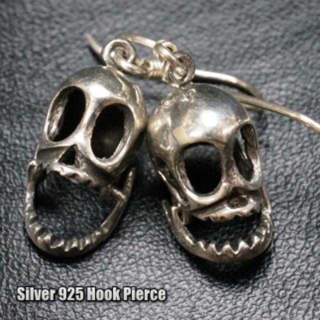 シルバーピアス アゴが動くリアルな骸骨がかっこいい大き目フックサガリピアス シルバー925 silver925 シルバーアクセサリー スカル メンズピアス がいこつ ガイコツ 髑髏 どくろ ドクロ