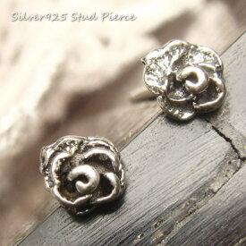 シルバーピアス シルバー製 小さい 薔薇 ピアス 直径4mmタイプ シルバー925 silver925 シルバーアクセサリー 花 フラワー バラ ばら スタッドピアス レディースピアス
