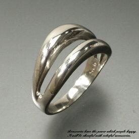 メイン部分が2重の波になったシルバーリング シルバー925 silver925 シルバーアクセサリー 指輪 ウェーブ サーファー サーフィン メンズ レディース