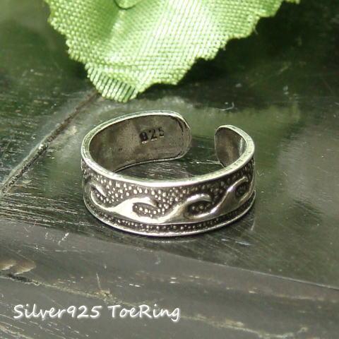 フリーサイズリング ウェーブ模様のエスニックタイプ足指リング シルバー925 silver925 シルバーアクセサリー 指輪 足指リング トゥリング トウリング ピンキィリング