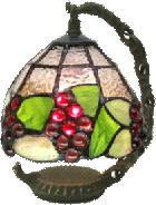 ステンドグラス ランプ ナギットの赤ブドウ柄 吊型 ミニタイプ 幅15cm 高さ18.5cm ステンドライト