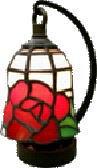 ステンドグラス ランプ 吊り型 ミニサイズ 赤バラ柄 高さ16.5cm ステンドライト