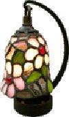 ステンドグラス ランプ 吊り型 ミニサイズ 花柄  高さ16.5cm ステンドライト