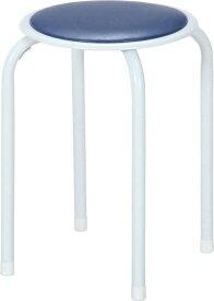 不二貿易 パイプチェア 4脚 高さ45cm ブルー スタッキング 合皮 10039 積み重ね可 パイプ 椅子 イス いす スツール スタッキング チェア チェアー