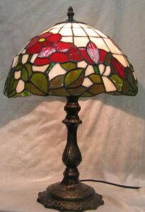 ステンドグラス ランプ 赤花 (シェード直径31cm 高さ46.5cm) ティファニー風 テーブルランプ
