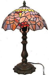 ステンドグラス ランプ 紅葉にナギットの木の実 (シェード直径30cm 高さ45cm) テーブルランプ ティファニー風