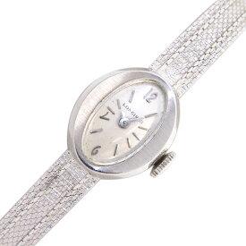 【中古】 ロンジン 時計 アンティークウォッチ シルバーダイアル バーインデックス 14KWG 手巻き レディース ヴィンテージ オールド クラシック オーバル Longines | ブランド 腕時計 女性 シルバー ブランド時計 レディース腕時計 中古時計 銀 機械式腕時計 ブランド腕時計