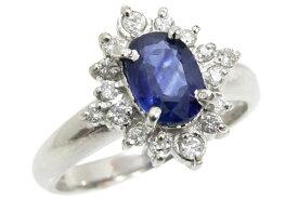 Pt900 サファイア&ダイヤモンド フラワーモチーフ デザインリング 7.5号 中古 指輪 プラチナ ジュエリー 120622001   ゆびわ リング ダイヤ ダイヤリング ダイヤモンドリング 18金 レディース 女性 妻 誕生日 プレゼント ギフト 母の日 結婚記念日