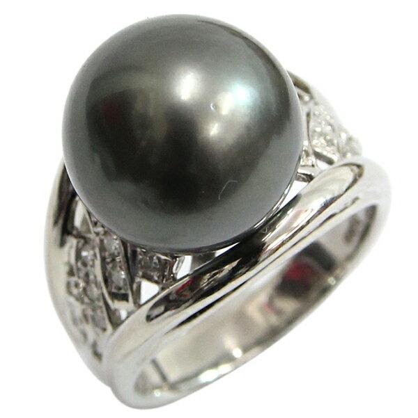 Pt900 ブラックパール ダイヤモンド デザインリング ブラックパール13.5ミリ玉 D0.22ct 16.5号 中古 プラチナ 真珠 指輪 アクセサリー | ゆびわ リング ダイヤ ダイヤリング ダイヤモンドリング 18金 レディース 女性 妻 誕生日 プレゼント ギフト 母の日 結婚記念日