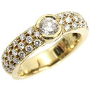 K18YG リング ダイヤモンド デザインリング D0.31ct 合計D0.48ct 7.5号 パヴェ 中古 750 イエローゴールド 指輪 ジュエリー アクセサリ…
