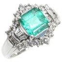 Pt900 リング エメラルド ダイヤモンド デザインリング E1.36ct D0.49ct 10号 中古 プラチナ 指輪 ジュエリー アクセ…