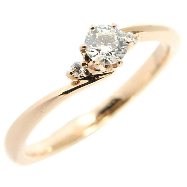 ダイヤ リング 0.213ct PG ピンクゴールド 10号 中古 指輪 リサイクルジュエリー | ゆびわ リング ダイヤ ダイヤリング ダイヤモンドリング 18金 レディース 女性 妻 誕生日 プレゼント ギフト 母の日 結婚記念日