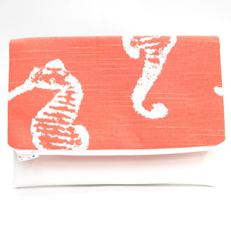 サラートクラッチバッグ AWS150427A017 orange white canvas 合皮新品未使用 sea horse Hawaiian Hawaiian Ann porch Salato