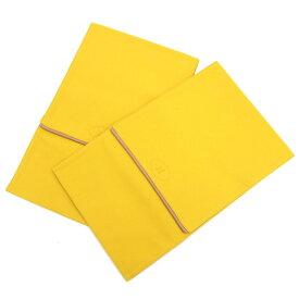 エルメス シューズケース ボリード イエロー コットンキャンバス 中古 靴入れ ペア 二枚組 ロゴ入り 黄色 小物入れ HERMES