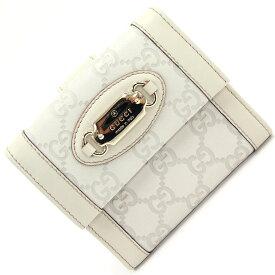 グッチ Wホック財布 グッチシマ 145747 アイボリー レザー 中古 白 折り財布 レディース ウォレット GUCCI
