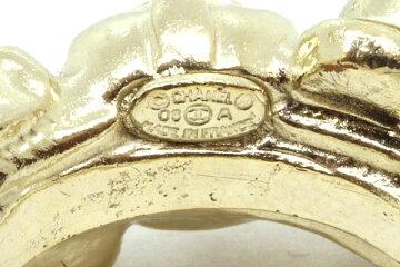 シャネルリングココマークアイボリーブラックライトグリーンゴールドメッキ12.5号08A中古指輪アクセサリーレディースCHANEL