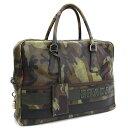 プラダ ブリーフケース VA0662 カーキ グリーン サフィアーノレザー 中古 カモフラージュ 迷彩柄 ビジネスバッグ かばん PRADA