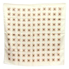 ブルガリ スカーフ アイボリー ベージュ ブラウン シルク 中古ストール 絹 ロゴ入り BVLGARI