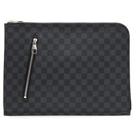 ルイ ヴィトン クラッチバッグ ダミエ グラフィット ポッシュ ドキュマン N48247 中古 ブラック メンズ かばん 書類かばん ビジネスバッグ 書類ケース LOUIS VUITTON