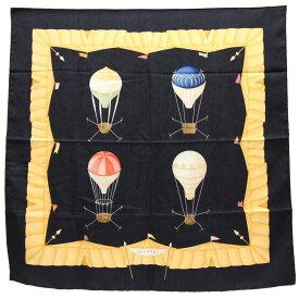 ブルガリ スカーフ ブラック イエロー シルク 中古 スカーフ 黒 気球 VASCELLI VOLANTI BVLGARI