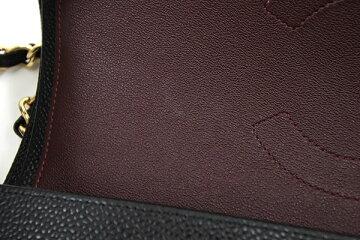 シャネルショルダーバッグマトラッセ30A58600ブラックキャビアスキン中古ココマークゴールドチェーンショルダー黒マトラッセデカマトラッセダブルチェーンMATELASSECHANEL