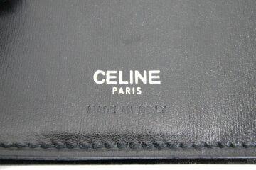 セリーヌ二つ折り長財布ブラックカーフレザー中古ロングウォレットメンズレディースCELINE