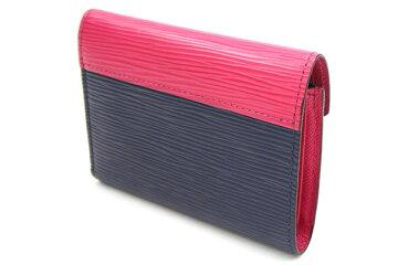 ルイヴィトン三つ折り財布エピポルトフォイユヴィクトリーヌM62204アンディゴブルーピンク中古バイカラーネイビーコンパクトウォレットレディースLOUISVUITTON