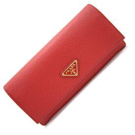 プラダ 二つ折り長財布 1MH132 レッド サフィアーノレザー 新品 未使用 ロングウォレット プレート レディース 赤 PRADA