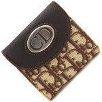 ディオールWホック財布トロッターベージュダークブラウンキャンバスレザー中古コンパクトウォレット両開き折り財布ChristianDior