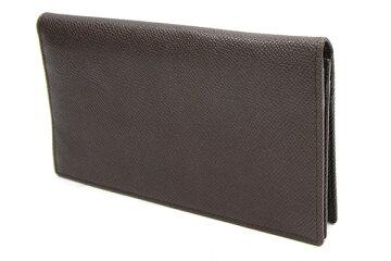 ブルガリ二つ折り長財布ブルガリブルガリ33378ダークブラウンレザー中古ロングウォレットメンズBVLGARI