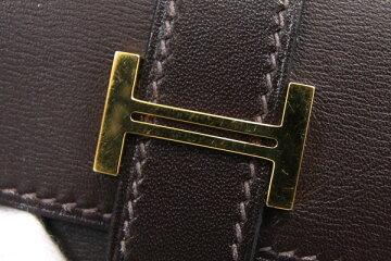 エルメスコインケースベアンダークブラウンボックスカーフ□J刻印2006年製造中古小銭入れHロゴレディースHERMES