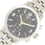 ティソメンズウォッチT055.417.11.037.00ブラックダイアルステンレススチールクォーツ中古時計腕時計男性紳士クロノグラフTISSOT