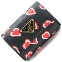プラダ 三つ折り財布 1MH021 ブラック レザー 中古 コンパクトウォレット ハートモチーフ レディース PRADA
