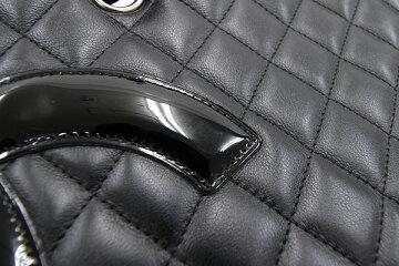 シャネルトートバッグカンボンラインラージトートA25169ブラックラムスキン中古肩掛けココマークキルティングステッチ格子柄ショッキングピンクレディースCHANEL