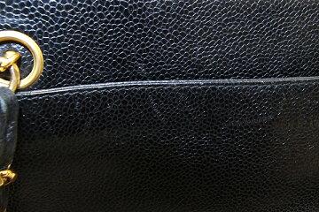 シャネルトートバッグトリプルココマークブラックキャビアスキン中古チェーンショルダー肩掛けレディースCHANEL