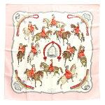 エルメススカーフカレ90乗馬風景ピンクホワイトシルク100%中古ストールリボンバンダナ正方形大判レディースHERMES