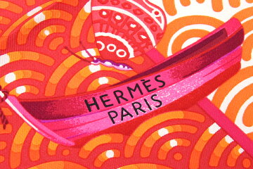 エルメススカーフカレ90花咲く帆船ホワイトオレンジシルク100%中古ストールリボンバンダナ正方形大判バタフライフィッシュレディースHERMES