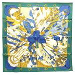 エルメススカーフカレ90シルクの太陽グリーンイエローブルーシルク100%中古ストールショールマフラーリボンバンダナ大判正方形レディースHERMES