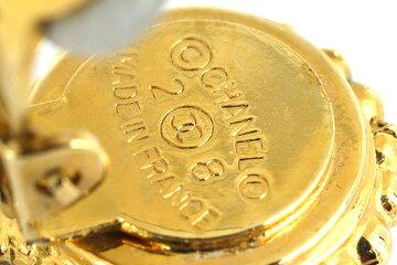 シャネルイヤリングクローバーモチーフゴールドカラーブラックメタルフェイクパール中古ティアドロップバネクリップ式レディースCHANEL