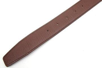 エルメスベルトダークブラウンブラックトゴボックスカーフ□D刻印2000年製造100cm中古リバーシブルメンズHERMES