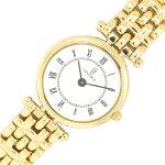 ヴァンテドゥーエレディースウォッチラウンドフォルム22ホワイトダイヤルローマ数字インデックスK18YGイエローゴールドクォーツ中古女性婦人腕時計VENTIDUE