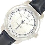 マセラッティメンズウォッチSUCCESSOR8851121010シルバーダイヤルバーインデックスステンレススチールレザークォーツ中古ネイビー男性紳士腕時計MSERATI