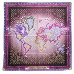 ルイヴィトンスカーフシルク100%中古モノグラムパターン世界地図ショールストールマフラー大判正方形レディースLOUISVUITTON